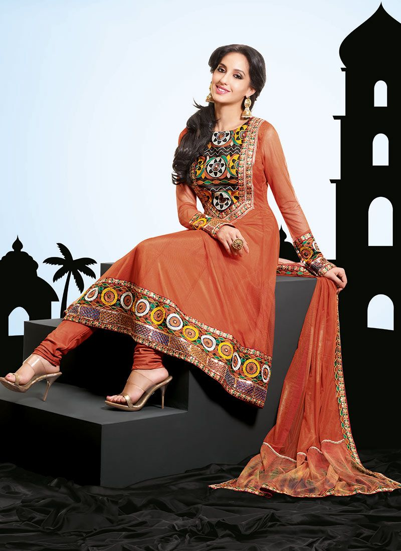 Rust Net Embroidered Churidar Suit
