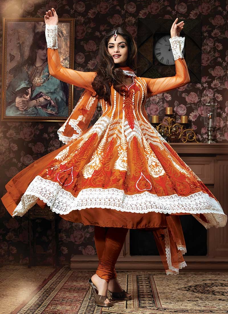 Rust Resham Embroidered Net Anarkali Suit