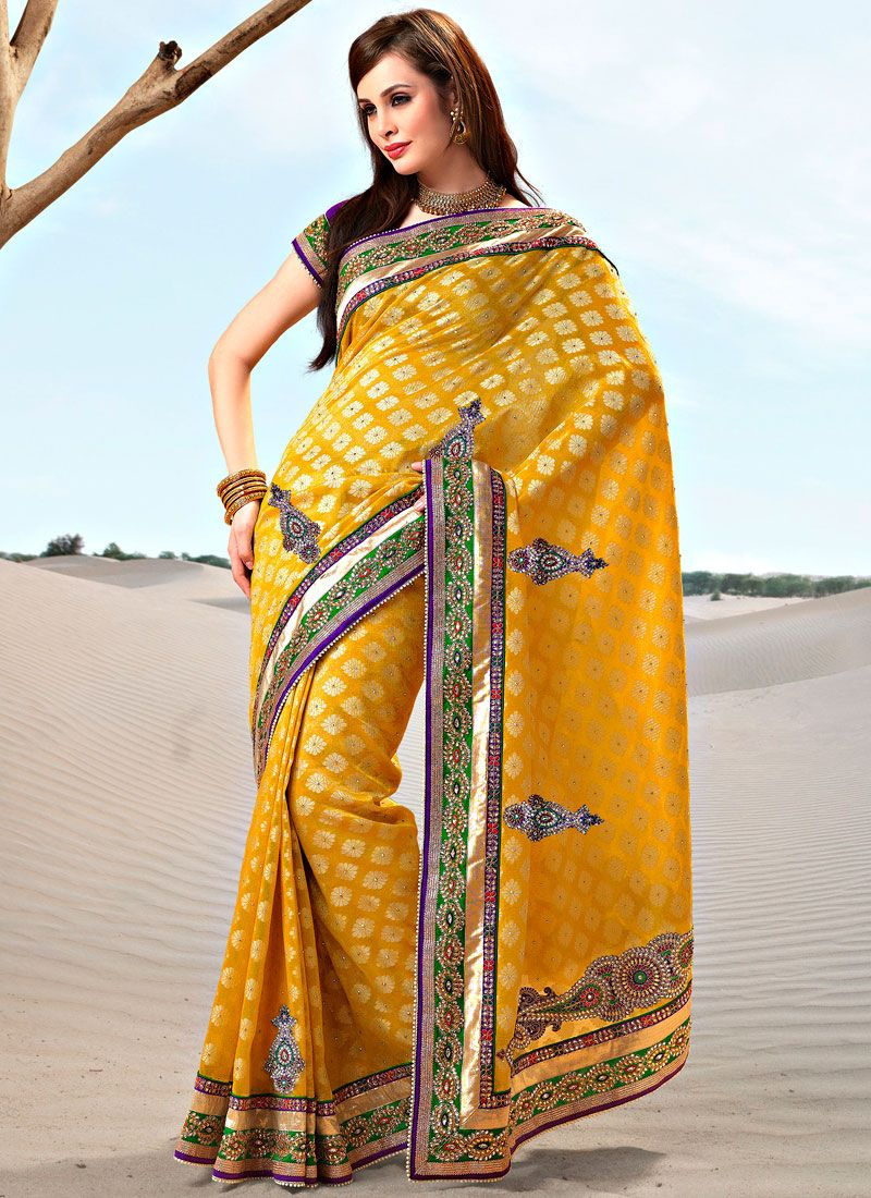 Saffron Yellow Art Benarasi Silk Saree