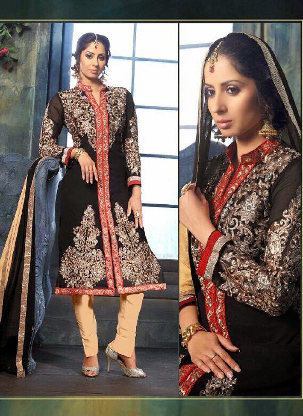 Sangita Ghose Black And Cream Zari Work Churidar Suit