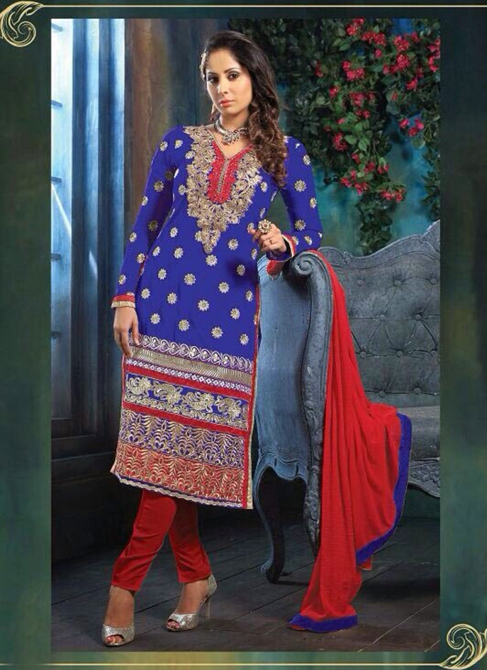 Sangita Ghose Blue And Red Georgette Churidar Suit