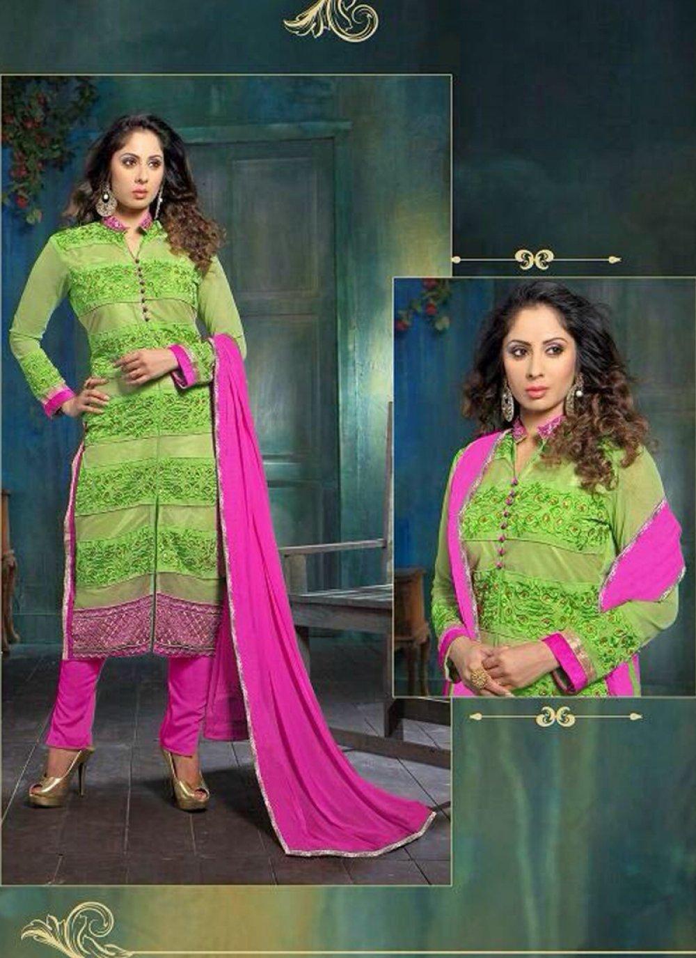 Sangita Ghose Green Georgette Churidar Suit