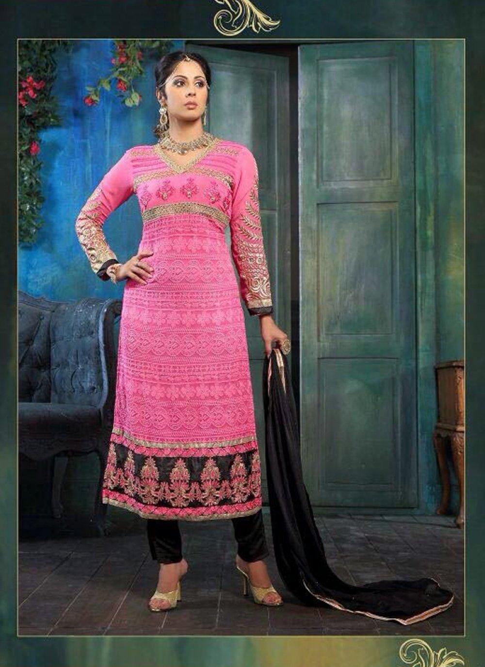 Sangita Ghose Pink Embroidery Churidar Suit