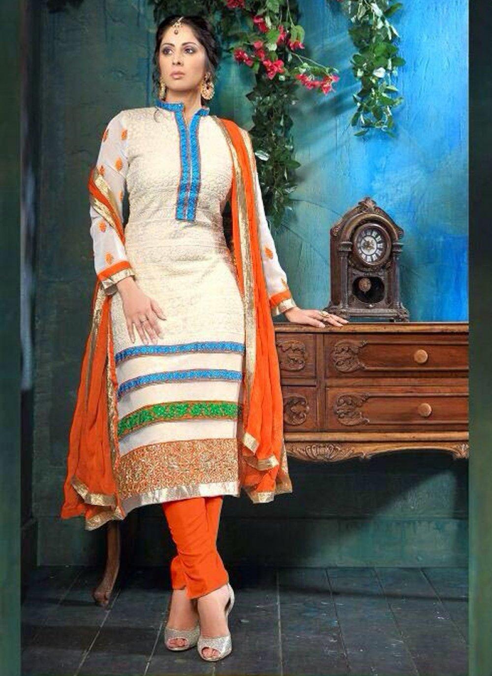 Sangita Ghose White Viscose Georgette Churidar Suit