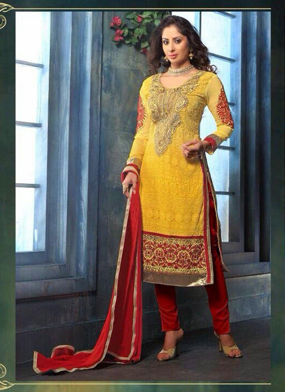 Sangita Ghose Yellow Georgette Churidar Suit