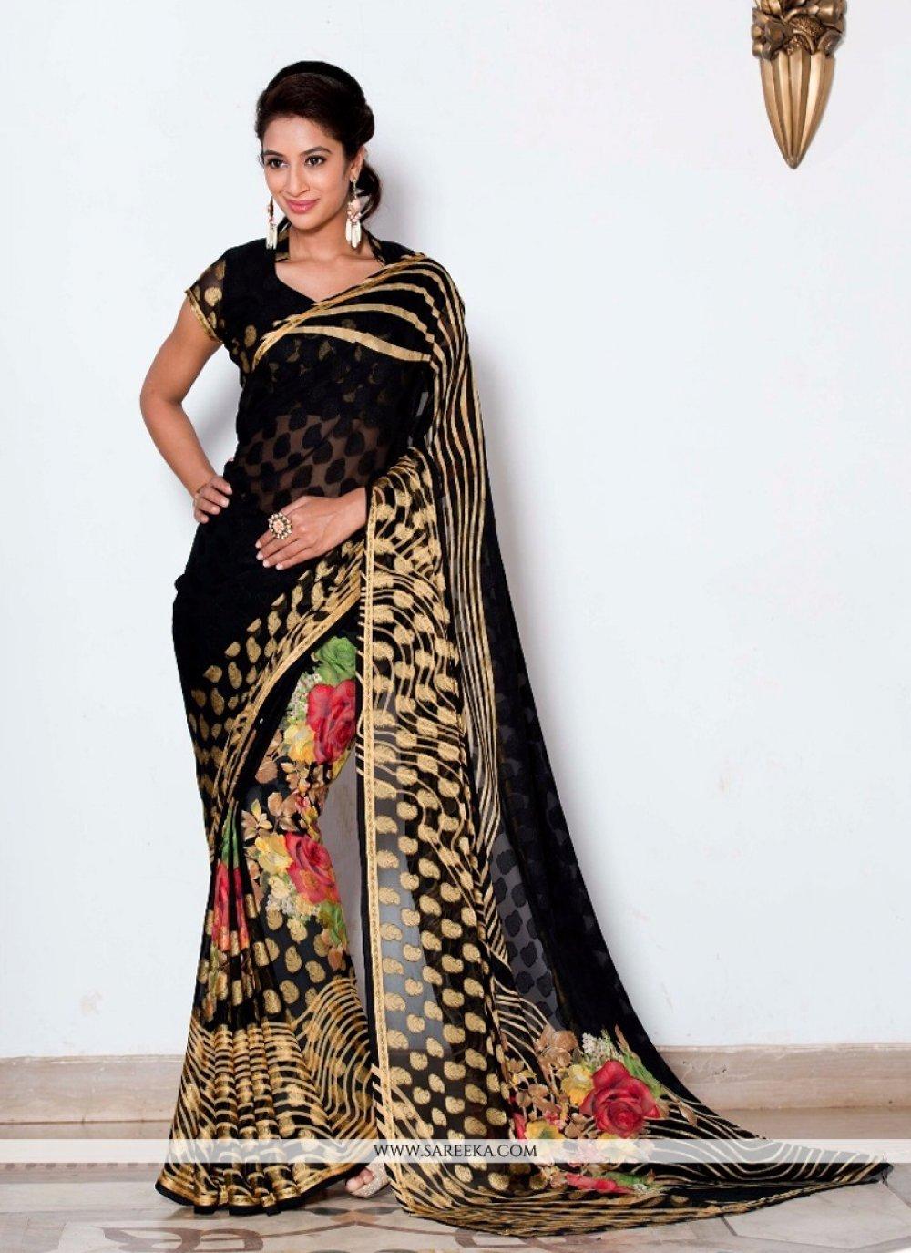Black Lace Work Viscose Casual Saree
