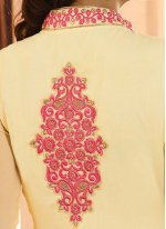 Georgette Cream Embroidered Work Designer Salwar Kameez