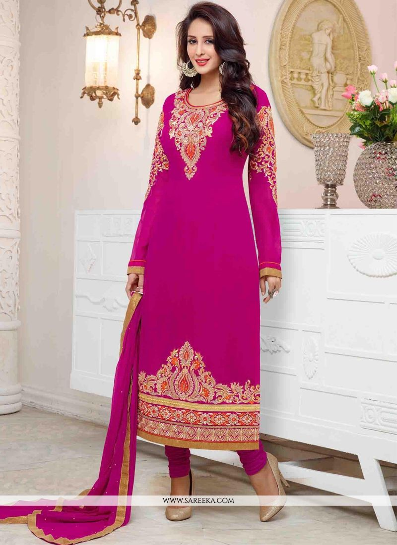 Georgette Hot Pink Resham Work Churidar Salwar Suit