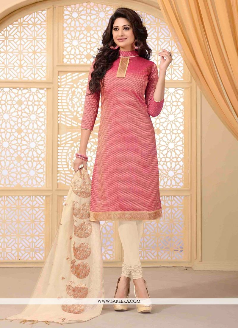 Lace Work Pink Jute Silk Churidar Salwar Suit