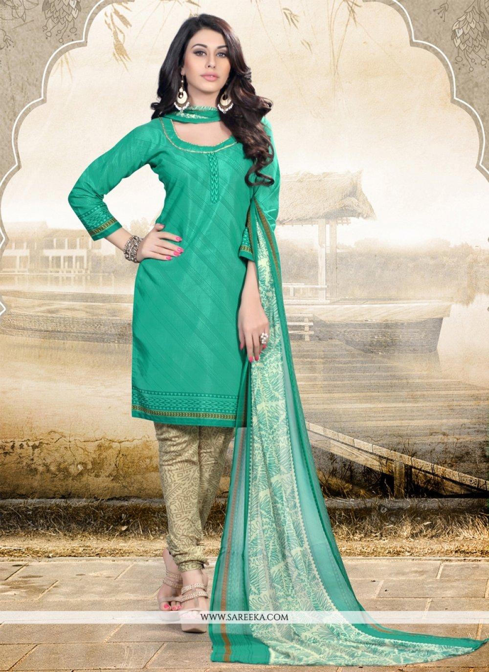Print Work Sea Green Churidar Designer Suit