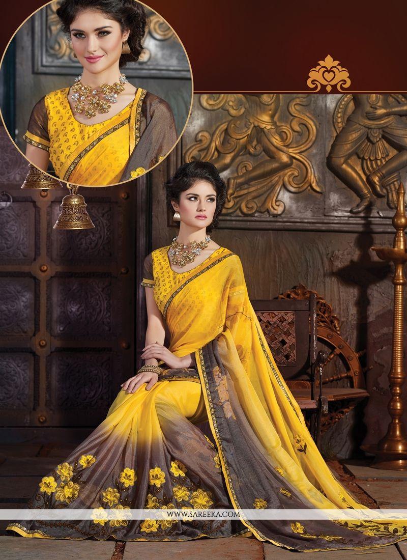 Resham Work Satin Designer Saree