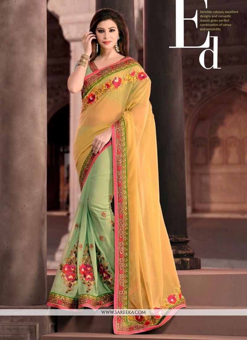 Sea Green Patch Border Work Designer Saree