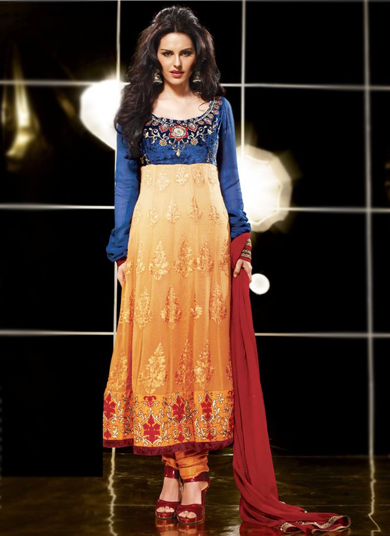 Apricot & Navy Blue Anarkali Suit
