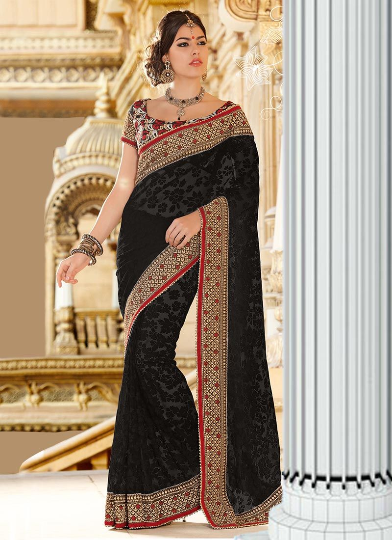 Black Net Brasso Saree