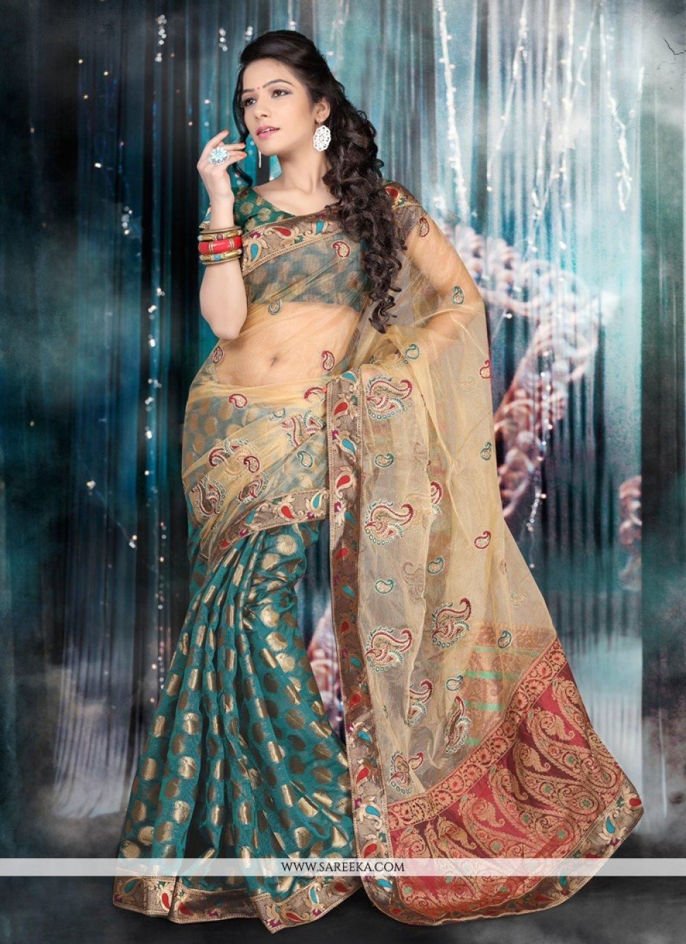 Chanderi Cotton Patch Border Work Designer Saree