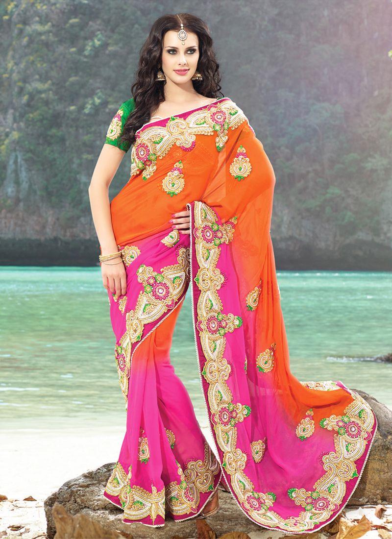 Deep Orange & Pink Embroidered Saree