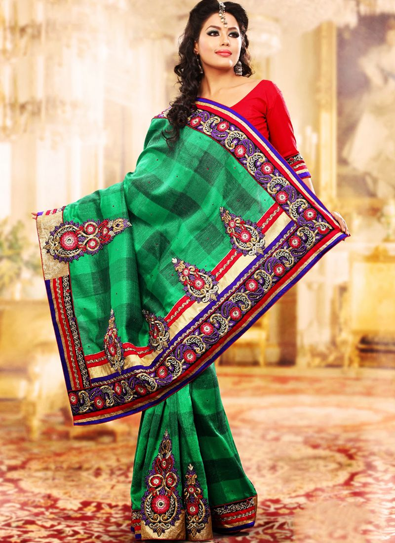 Emerald Green Embroidered Saree
