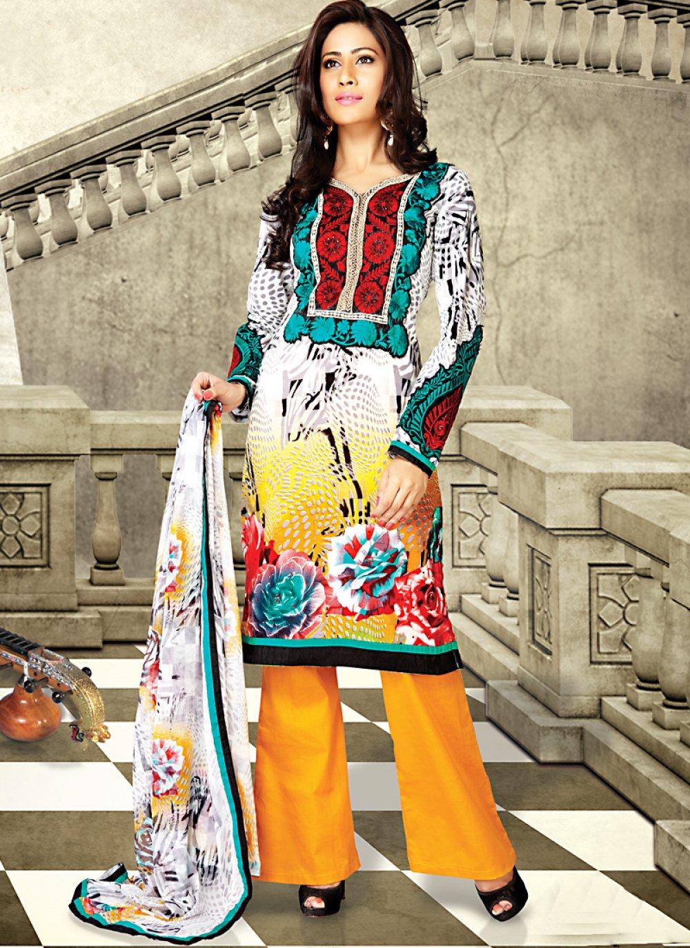 Gold Color & White Salwar Kameez