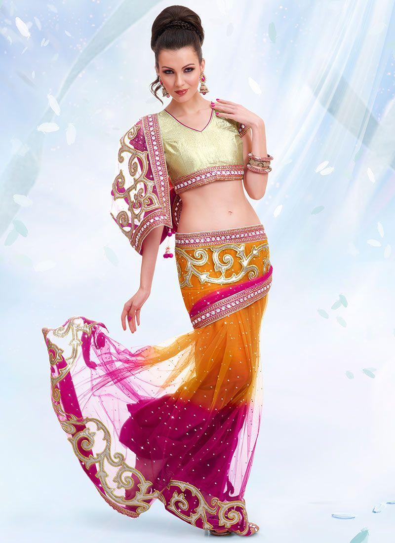 Orange And Rani Pink Net Saree