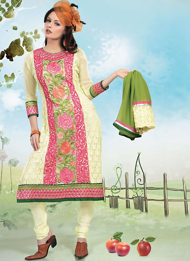 Pale Deep Pink & Pale Honeydew Salwar Kameez