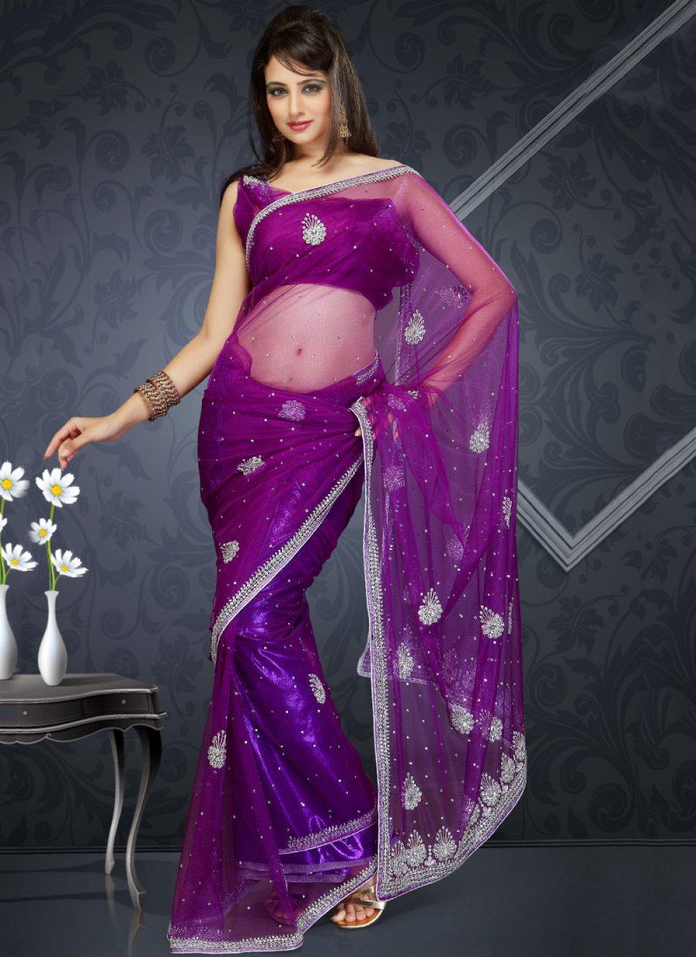 Purple Net Saree