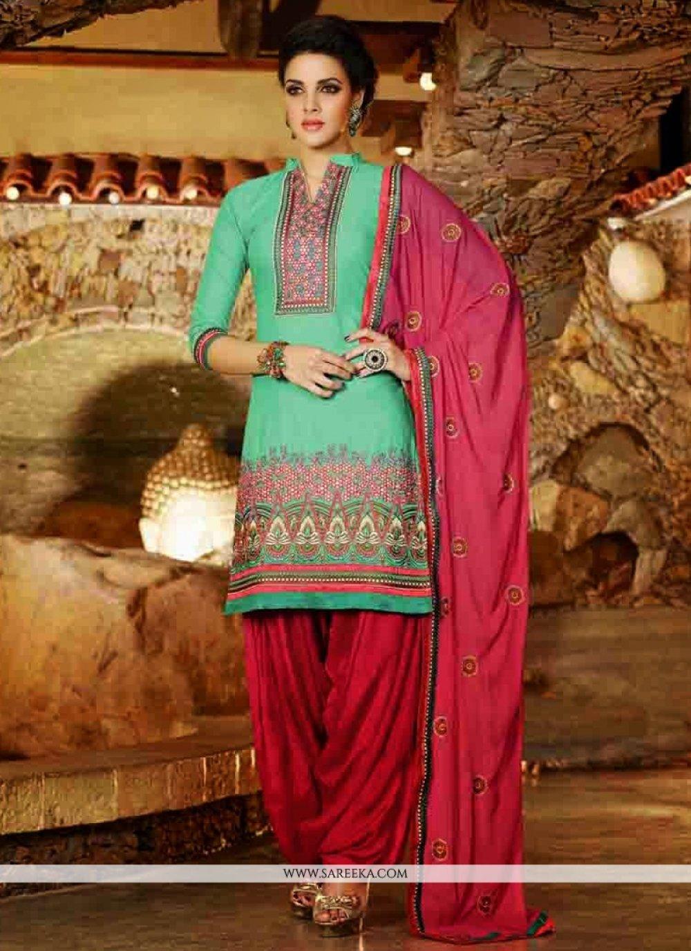 Sea Green Cotton Punjabi Suit