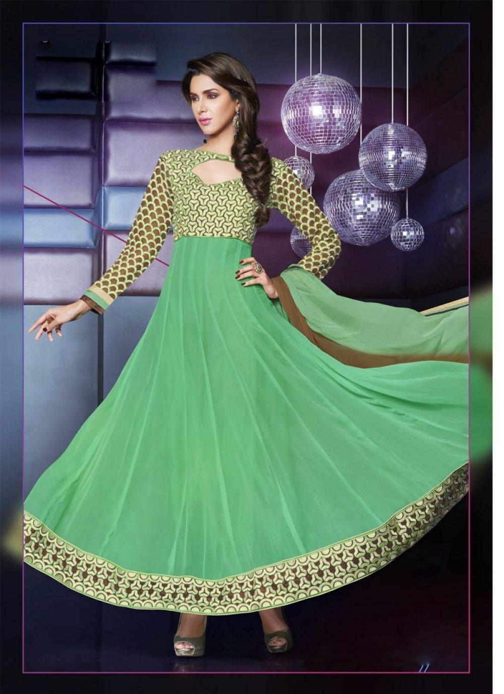 Sea Green Embroidery Anarkali Suit