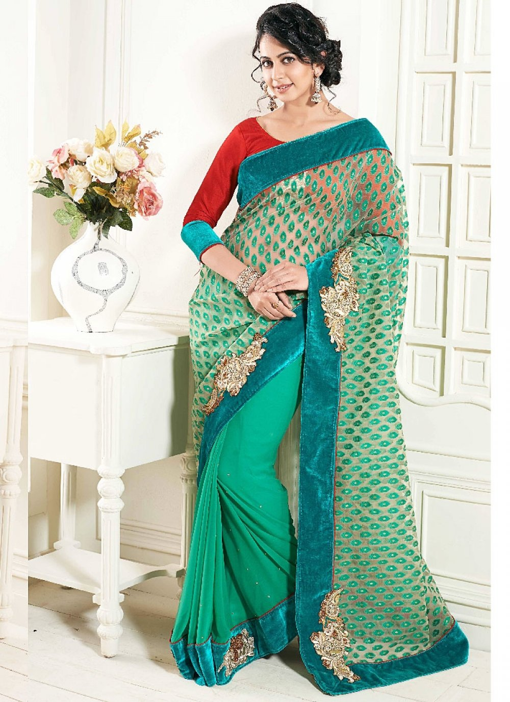 Sea Green Embroidery Net Georgette Designer Saree