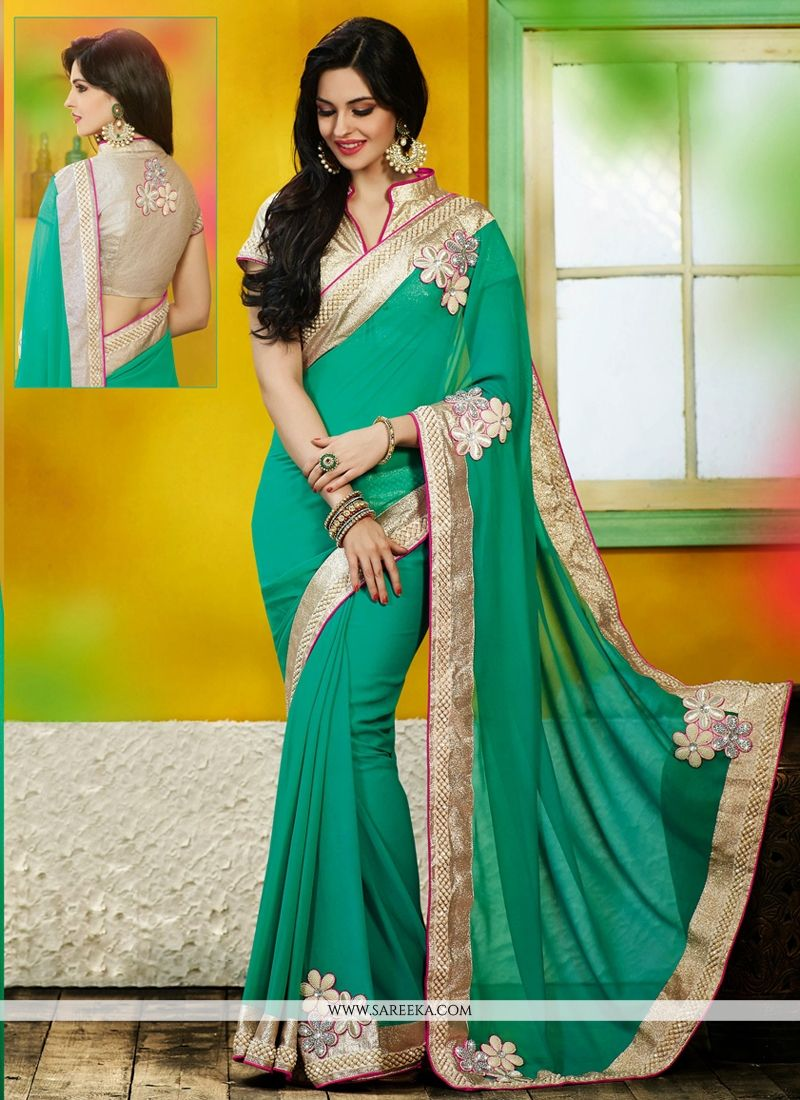Sea Green Georgette Designer Saree