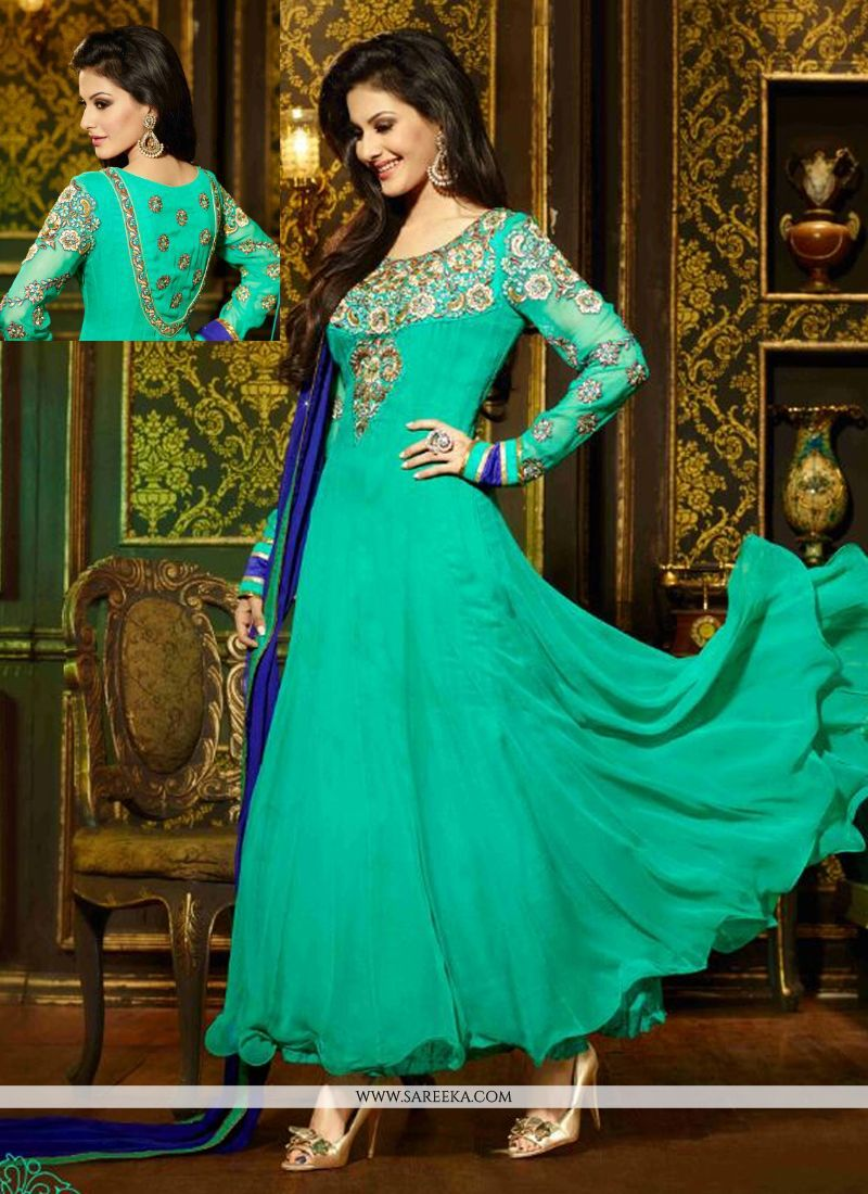 Sea Green Goergette Anarkali Salwar Suit