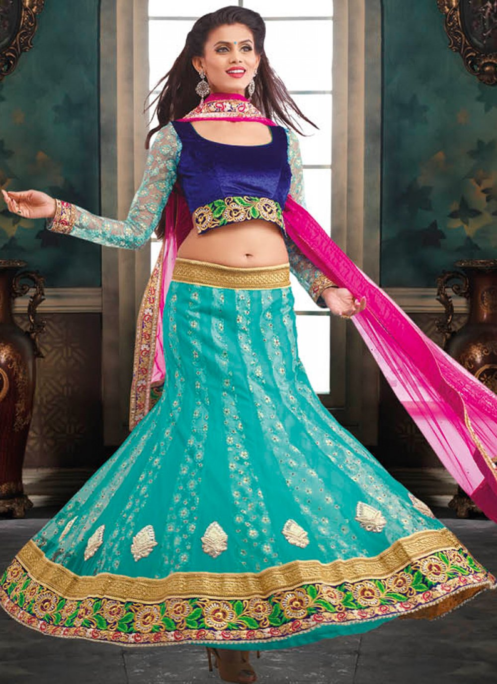 Sea Green Jacquard Lehenga Choli