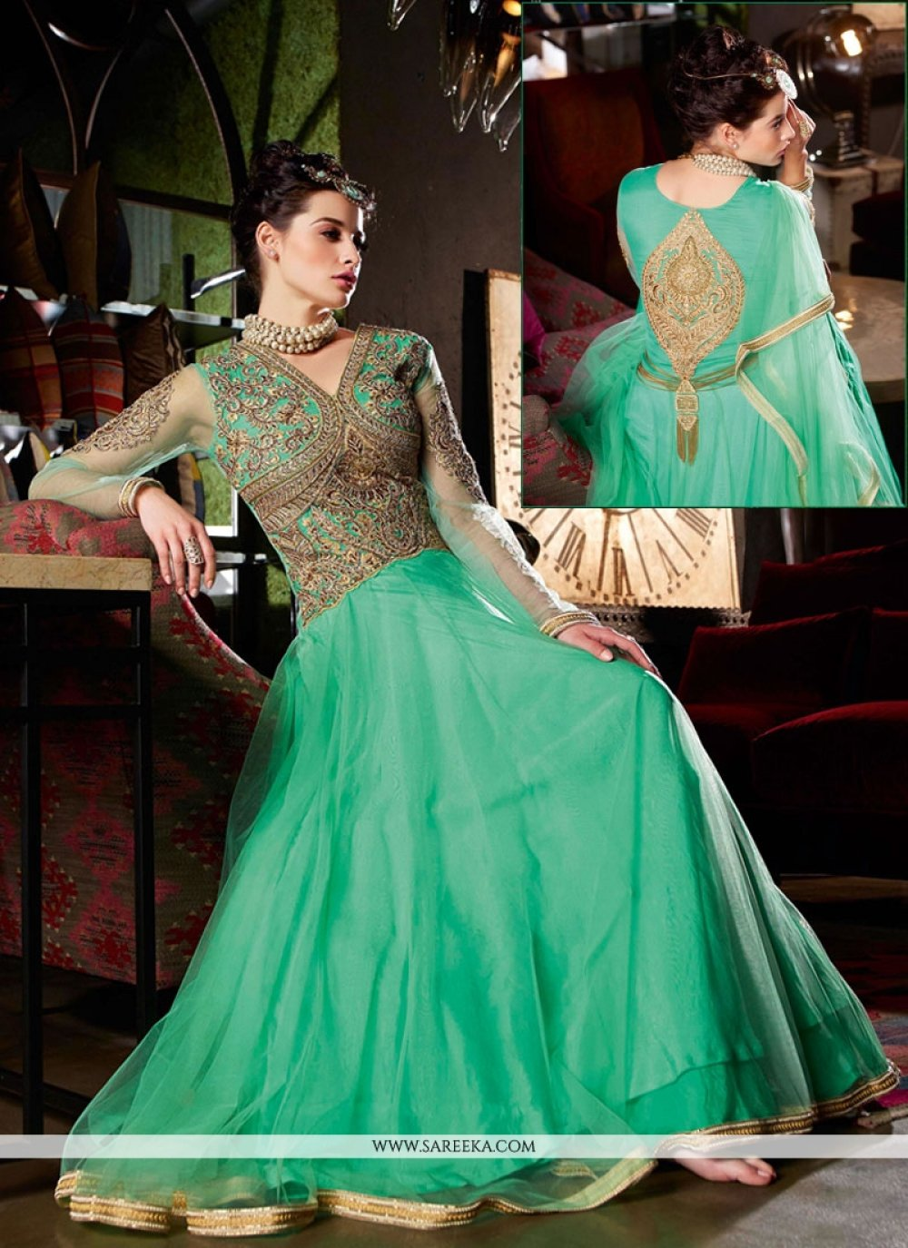 Sea Green Net Designer Gown