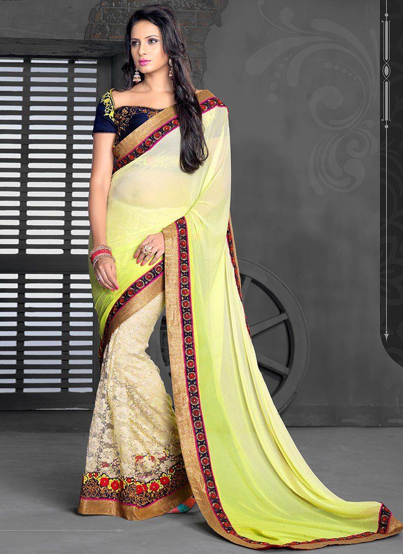 Cream And Yellow Shaded Net Jacquard Half And Half Saree