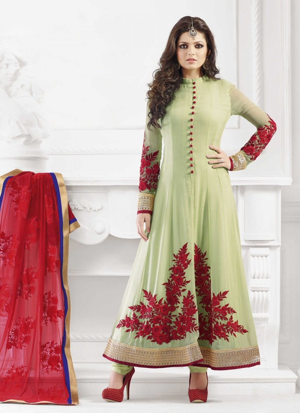 Sea Green Resham Work Anarkali Suit