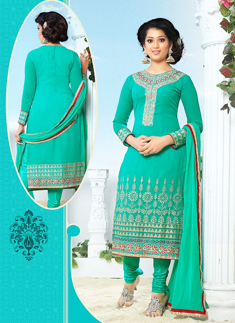 Sea Green Resham Work Georgette Churidar Suit