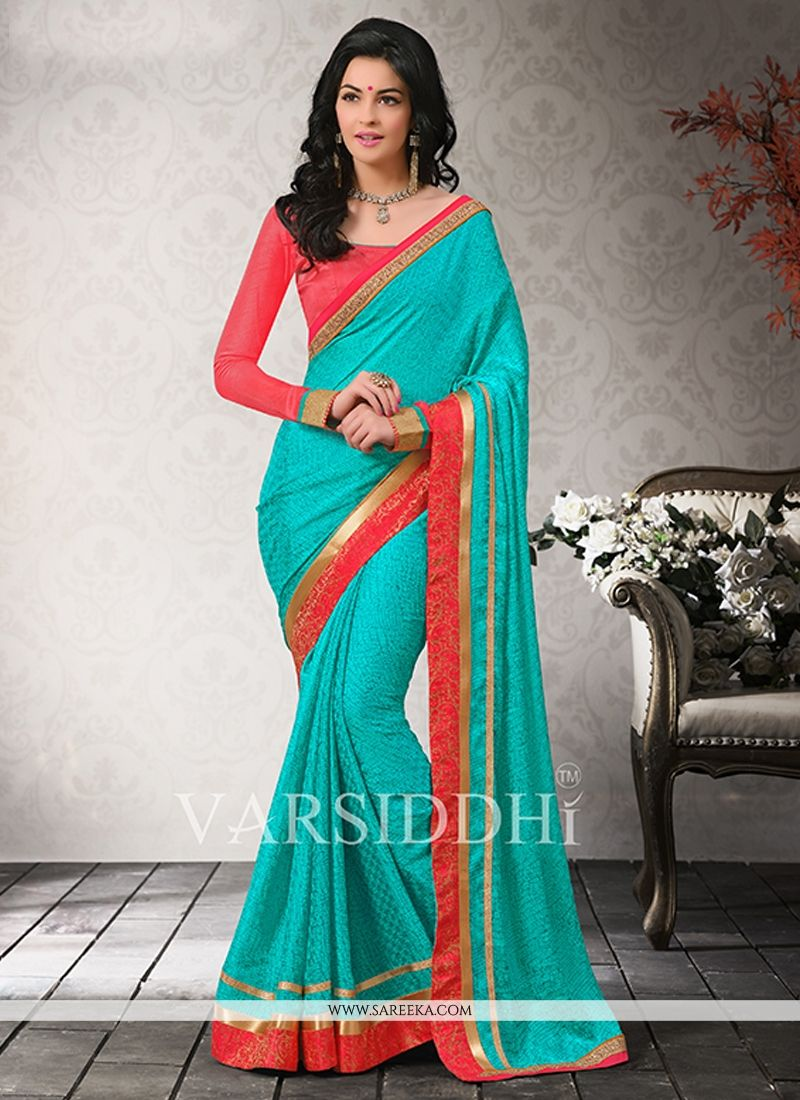 Sea Green Satin Chiffon Casual Saree