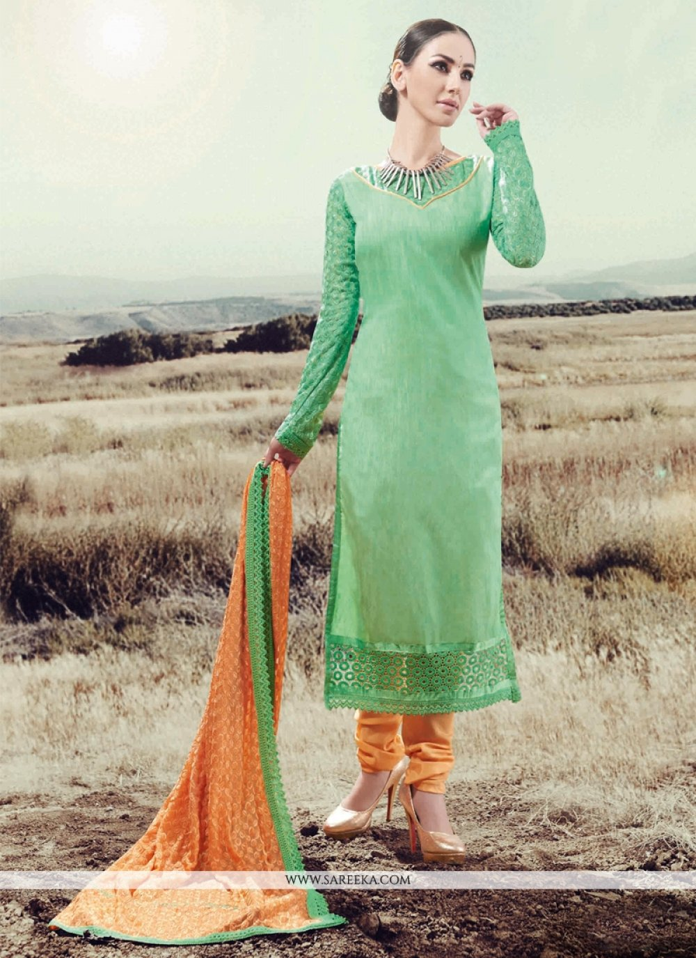 Sea Green Silk Designer Straight Salwar Suit