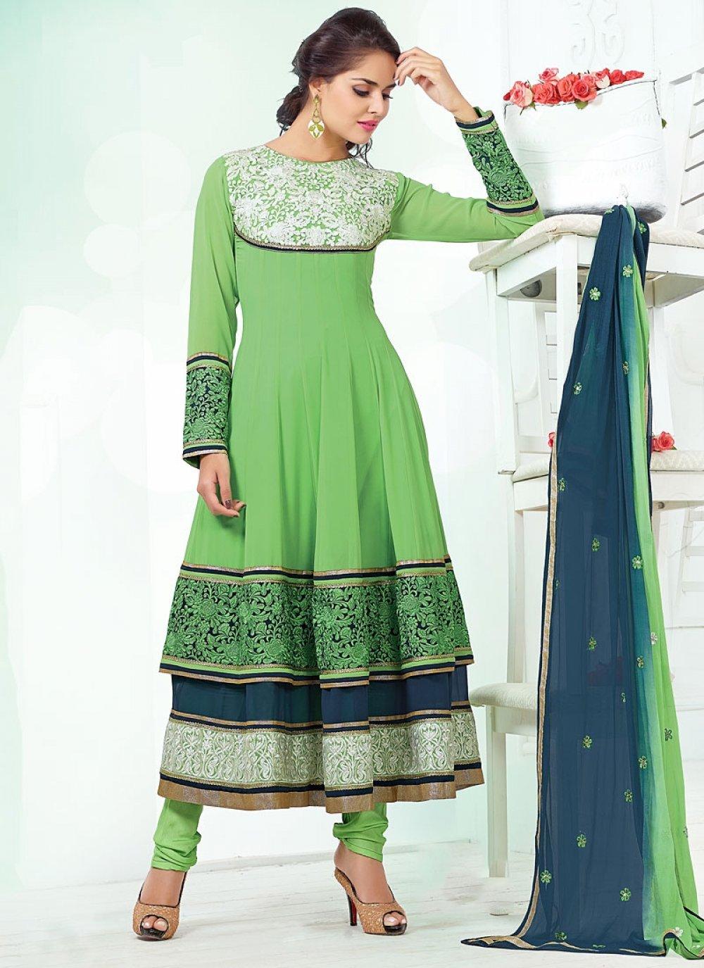 Sea Green Viscose Anarkali Suit
