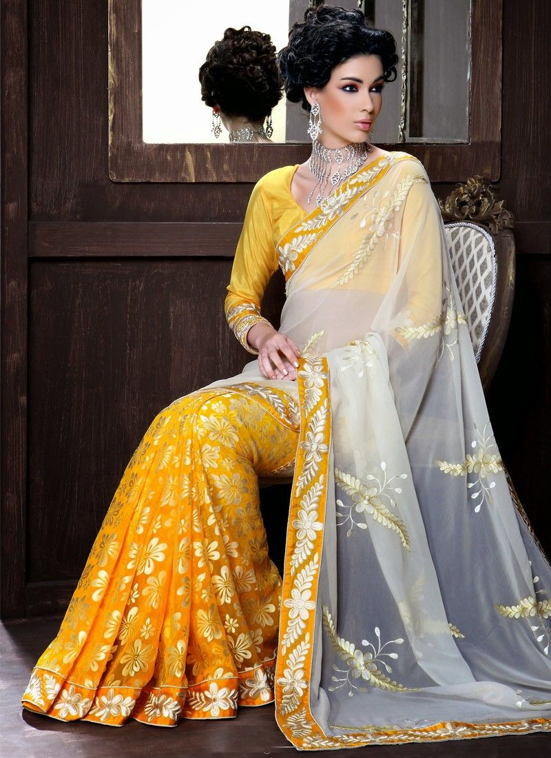 Sea Yellow Patch Border Work Half And Half Saree