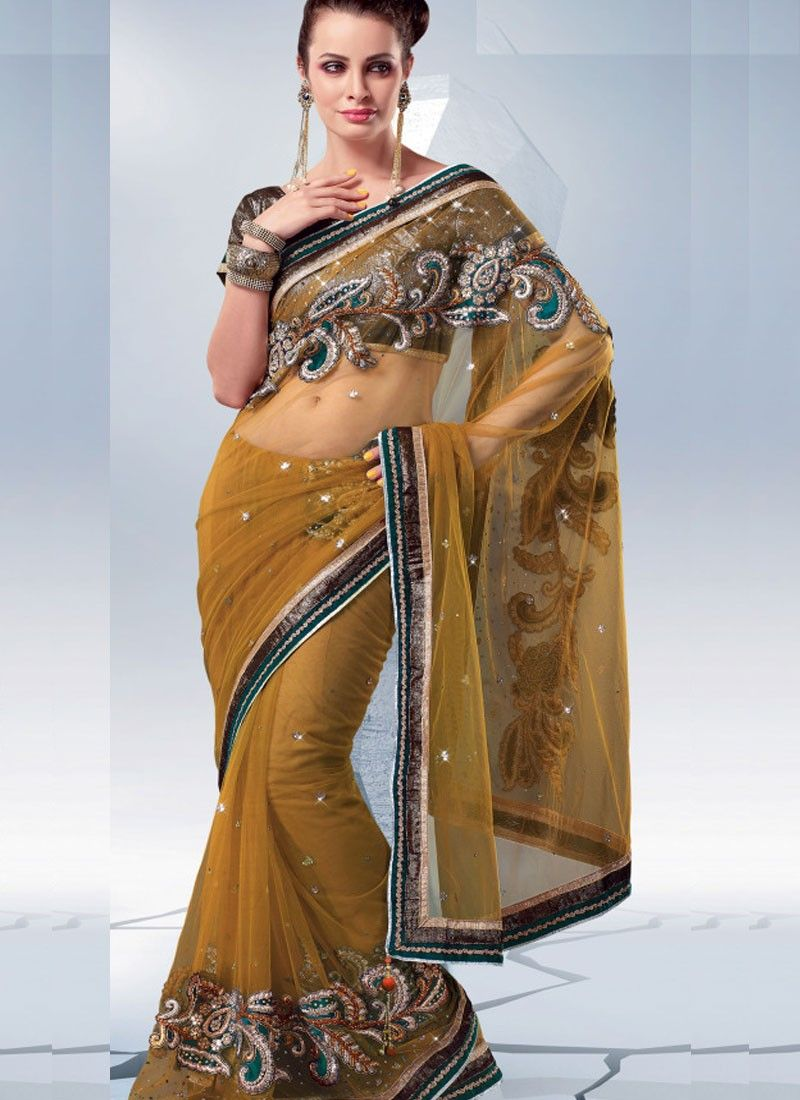 Seductive Brown Color Net Saree