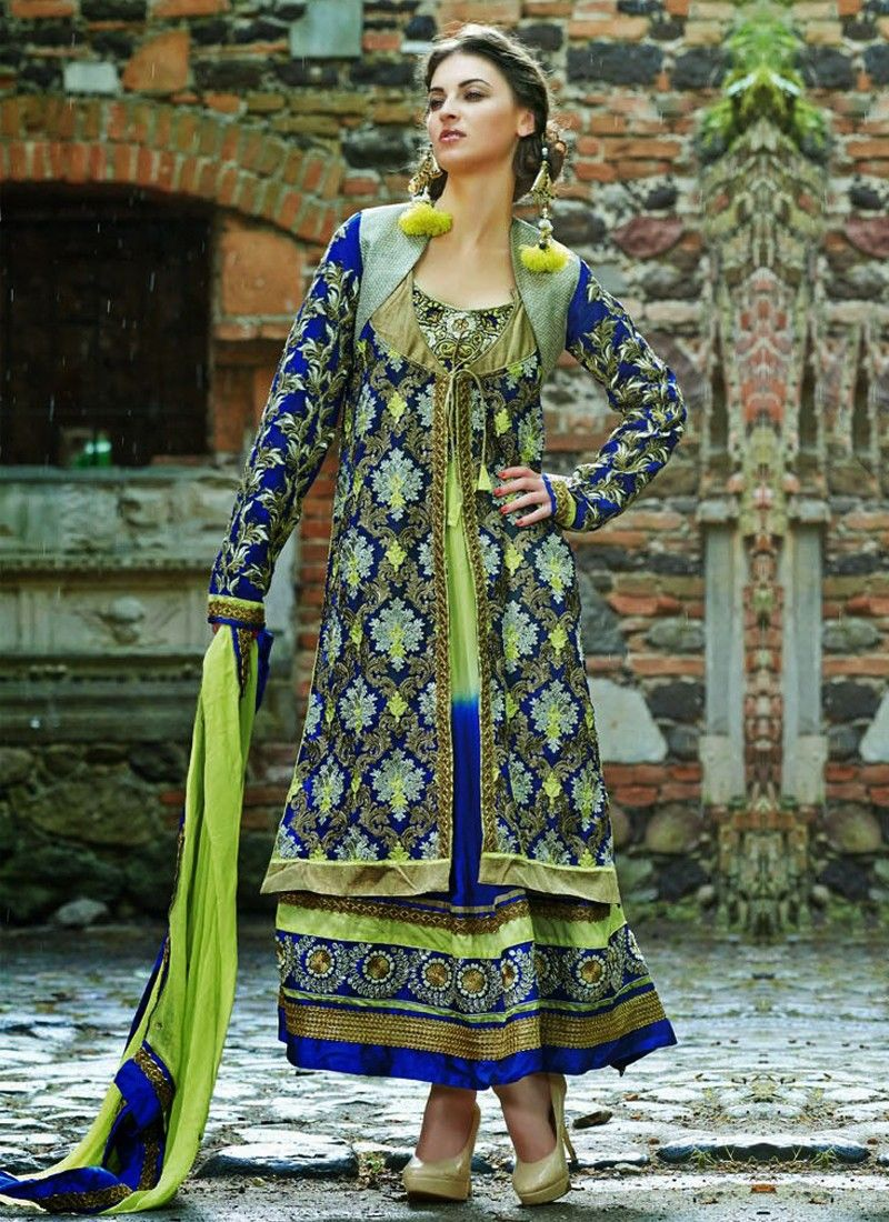 Fabulose Multicolored Resham Work Georgette Anarkali Suit