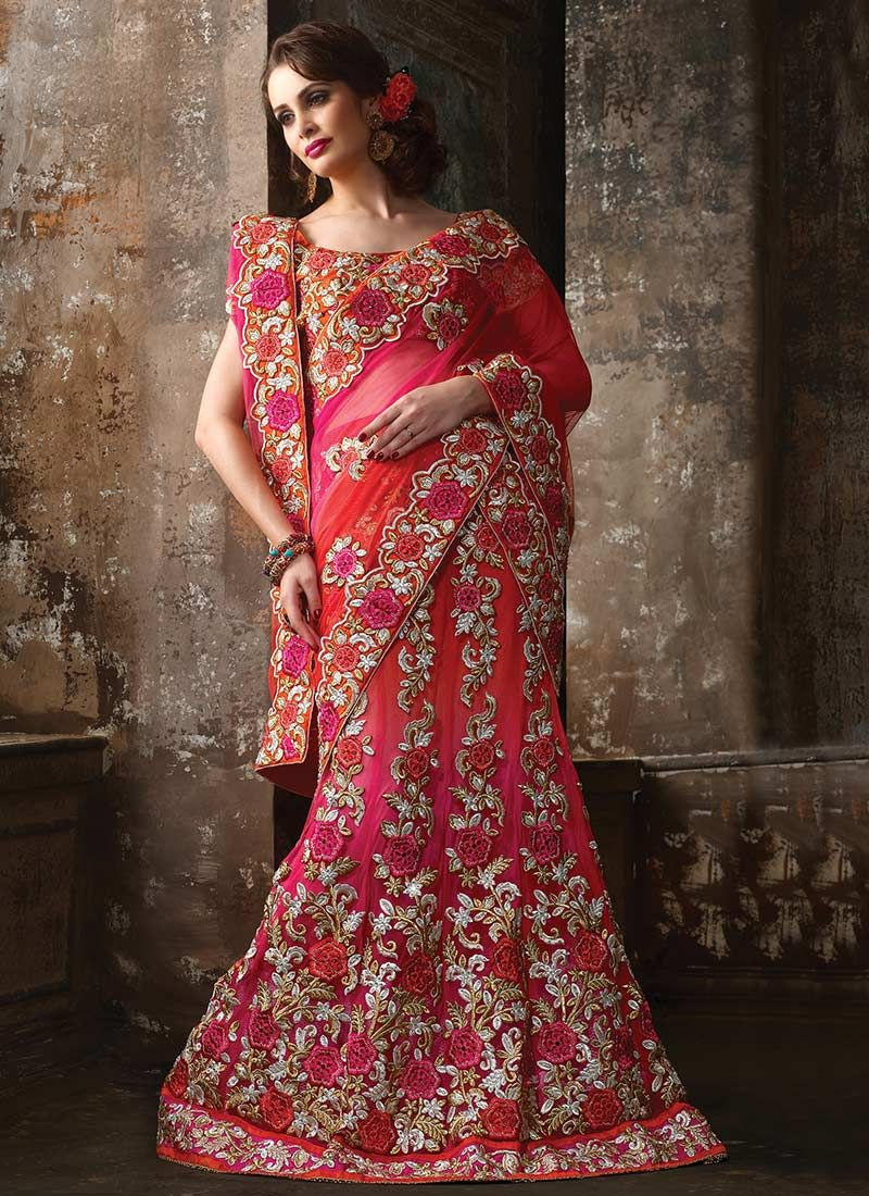 Hot Pink Net Resham Lehenga Choli