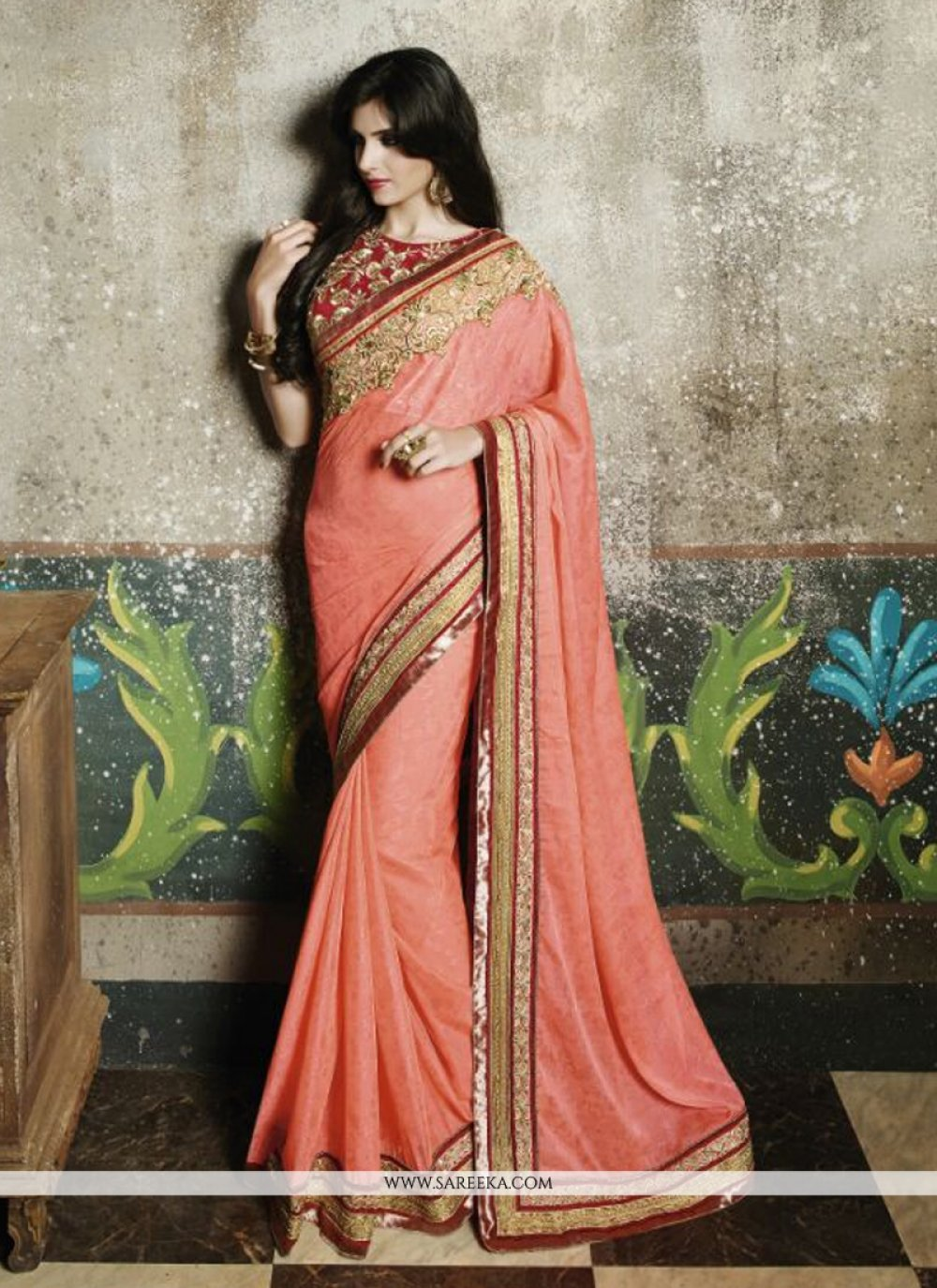 Jacquard Peach Designer Saree