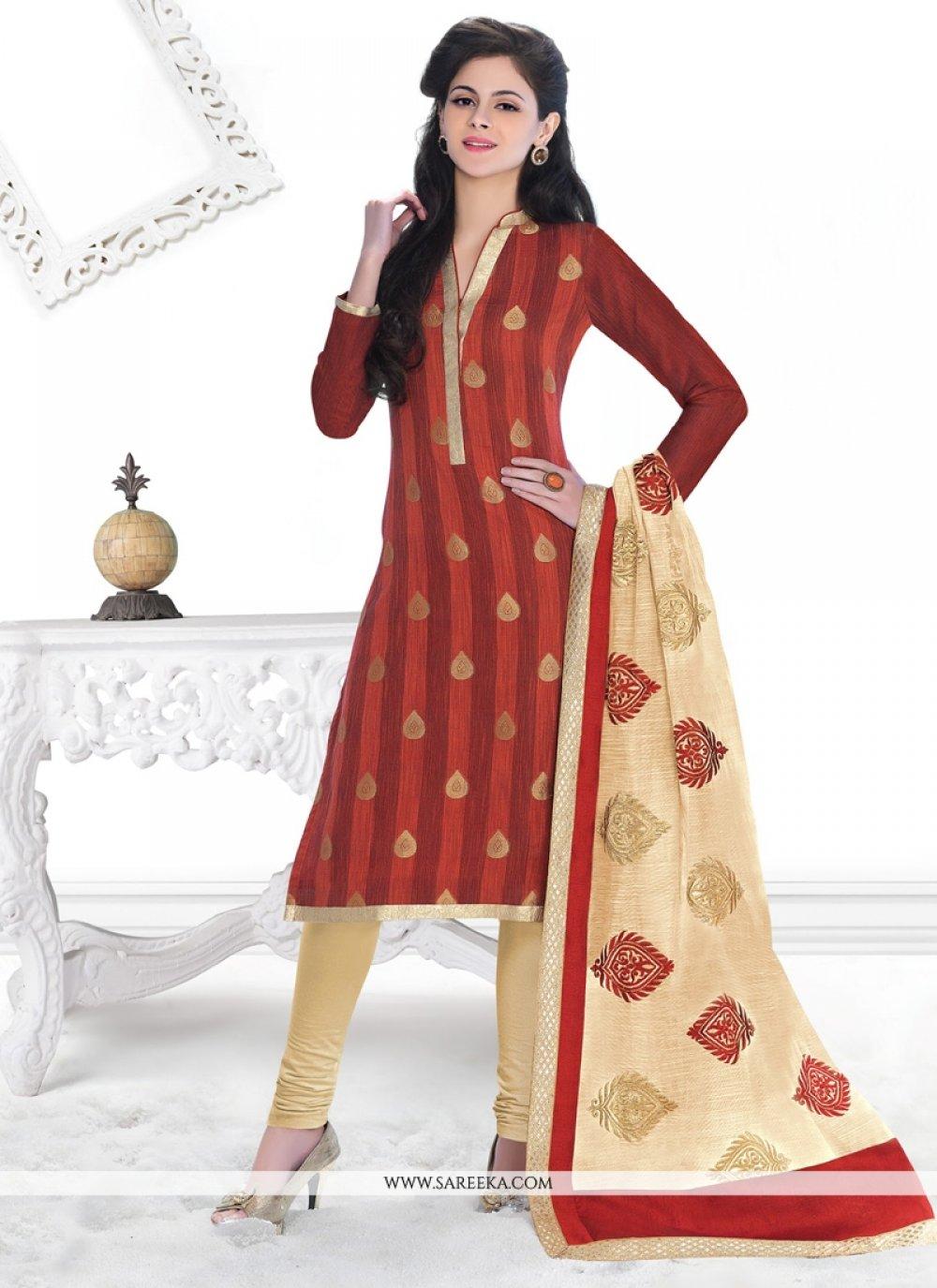 Lace Work Jacquard Churidar Designer Suit