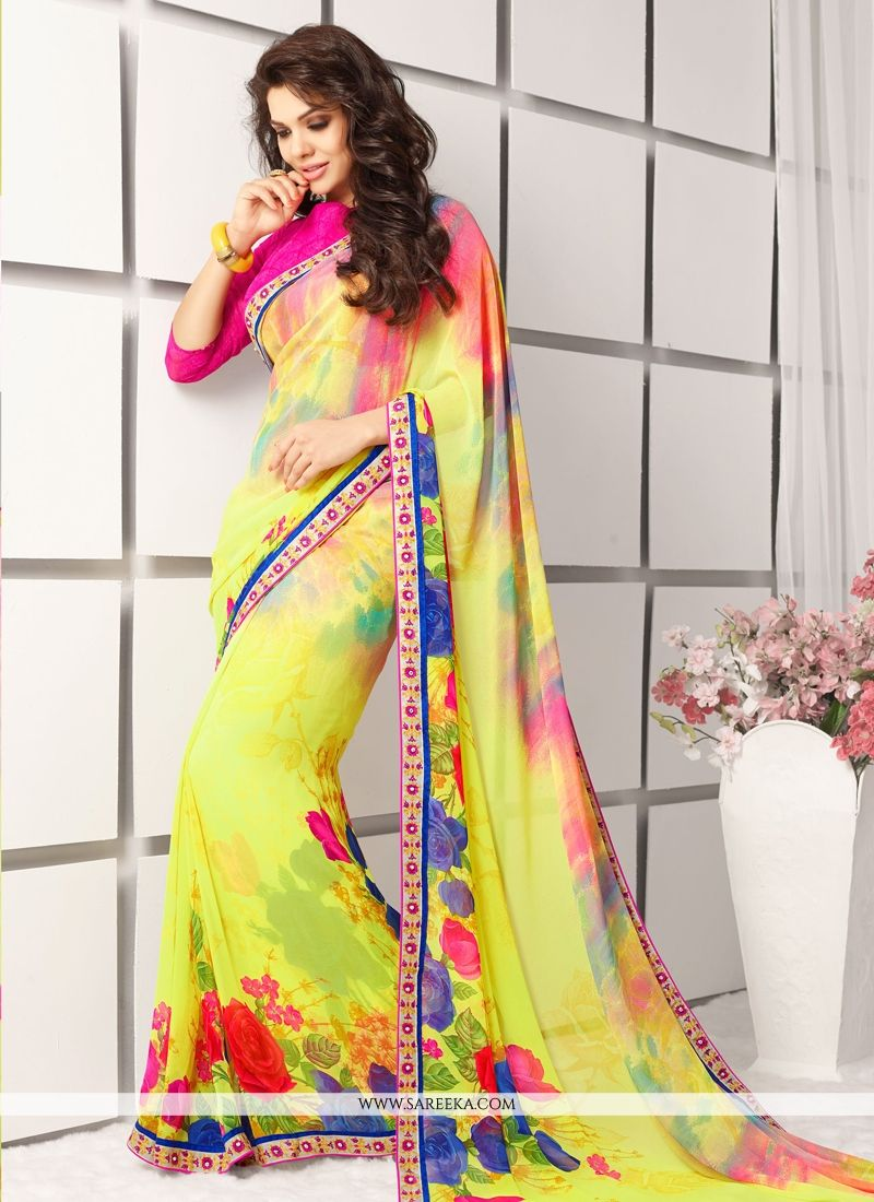Yellow Lace Work Casual Saree