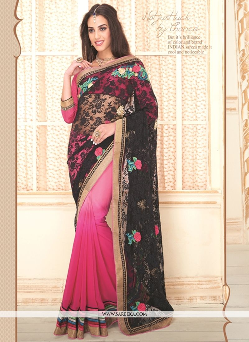 Black and Hot Pink Embroidered Work Designer Saree