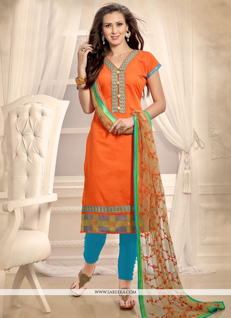 Embroidered Work Orange Churidar Designer Suit