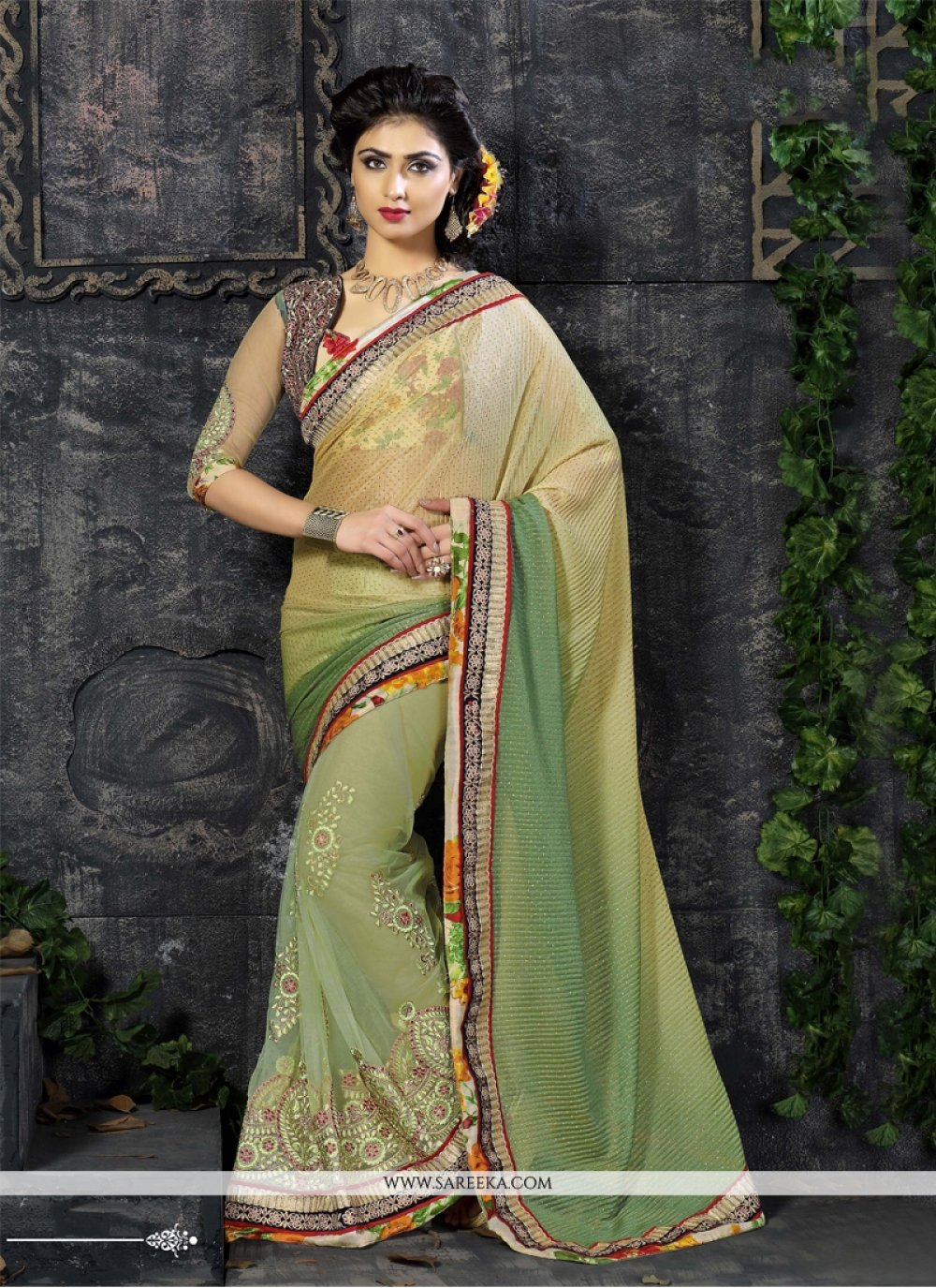 Embroidered Work Sea Green Net Designer Saree