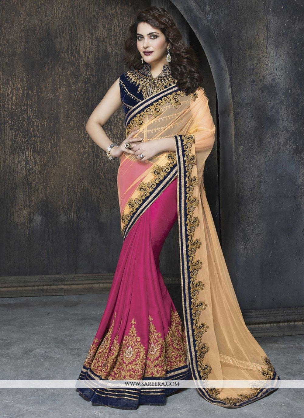Faux Chiffon Hot Pink and Beige Designer Saree