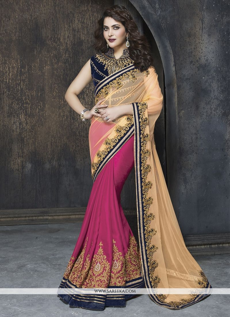 Faux Chiffon Hot Pink and Beige Designer Saree